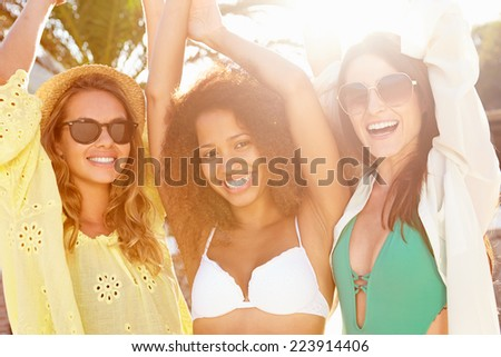 Group Of Female Friends Having Party On Beach Together - stock photo