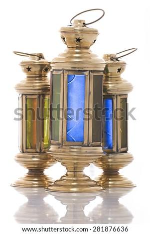 Group of Festive Ramadan Lanterns Isolated on White Background - stock photo