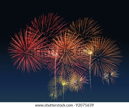 Group of Fireworks on black background - stock photo