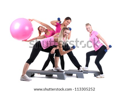 group of fitness instructors with accesories