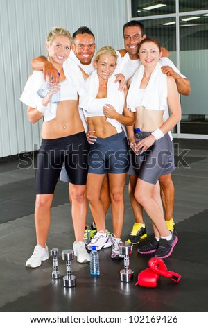 group of fitness people in gym - stock photo