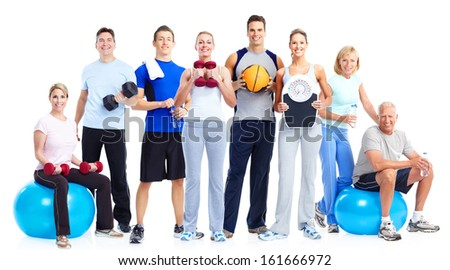 Group of fitness people. Isolated over white background. - stock photo
