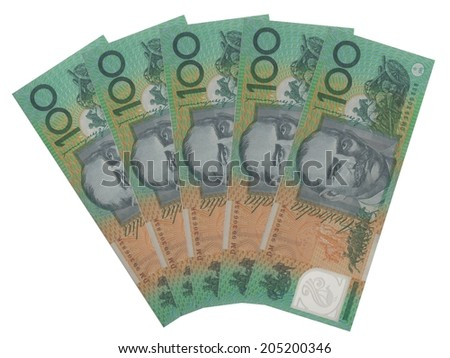 Group of five 100 Australian dollar notes over white background - stock photo