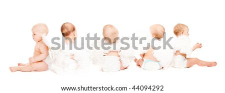 Group of five baby angels sitting, rear view, isolated - stock photo