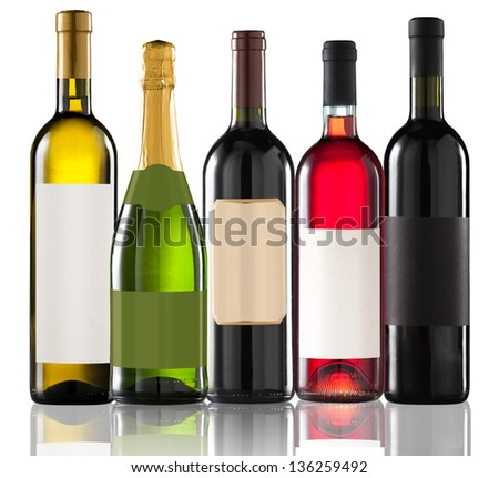 Group of five bottles on white - stock photo