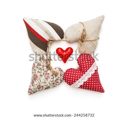 Group of five hearts on a white background. Valentine's Day. - stock photo