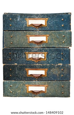 Group of five vintage filing drawers with empty labels isolated on a white background - stock photo