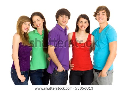 Group of five young friends - stock photo