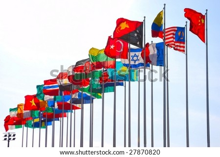 Group of flags - stock photo