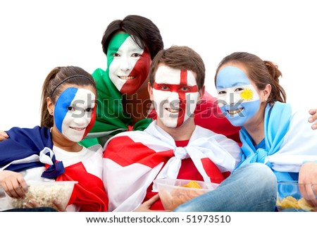 Group of football fans looking happy with their faces painted - Isolated over white - stock photo