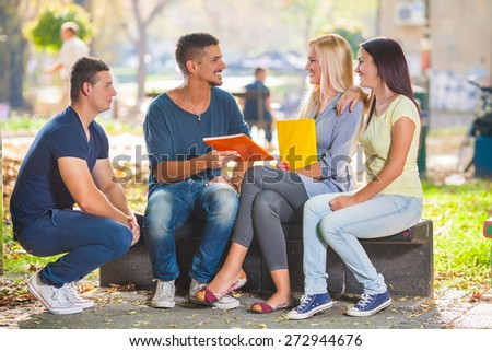 Group of four college students studying together in a park - stock photo