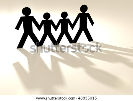 group of four people in a paper chain in same sex family - stock photo