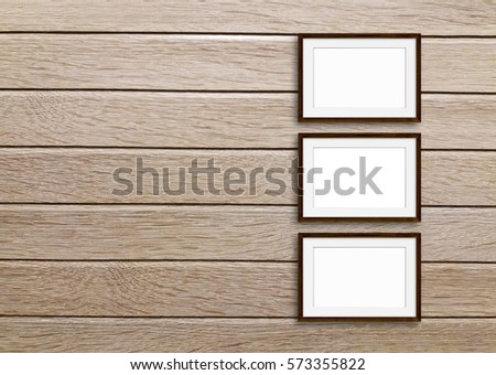 Group Frames On Wooden Panels Wall Stock Photo (Royalty Free ...