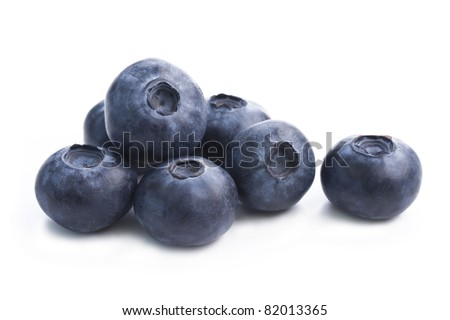 Group of fresh blueberries isolated on white background. - stock photo