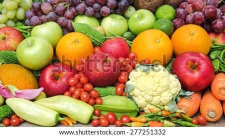 Group of fresh fruits and vegetables organics - stock photo