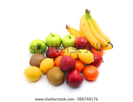 Group of fresh fruits isolated on white background