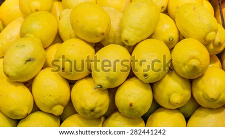 Group of fresh lemons in a supermarket at Colfax, Whitman County, Washington, USA. Close up and full frame view of lemons. Color full and healthy concept. Panoramic style. - stock photo
