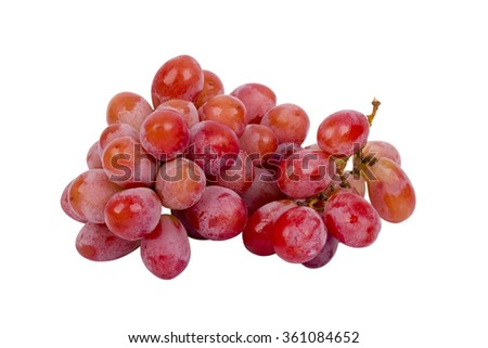 group of fresh red grape on isolated background - stock photo