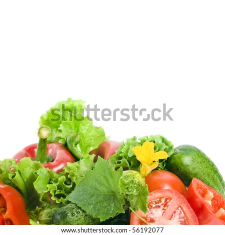 group of fresh ripe vegetables and herbs isolated on white - stock photo