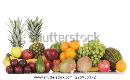 Group of fresh tasty fruits