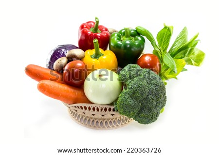 group of fresh vegetables and herbs isolated on white background - stock photo