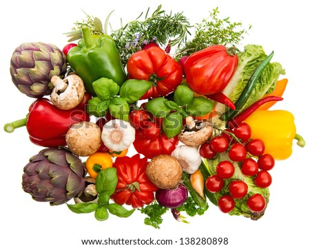 group of fresh vegetables and herbs isolated on white background. raw food ingredients. tomato, paprika, artichoke, mushrooms, cucumber, green salad, garlic, rosemary, thyme, basil