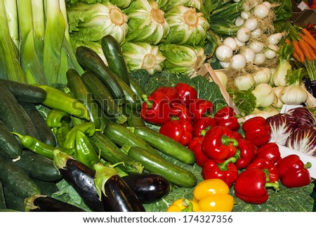 Group of fresh vegetables in the market - stock photo