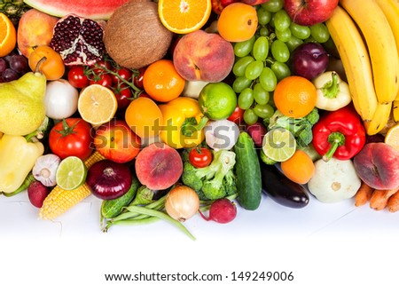 Group of fresh vegetables isolated on a white background - stock photo