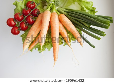 Group of fresh vegetables on a white background