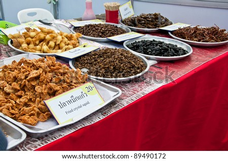 group of fried insect in thai restaurants