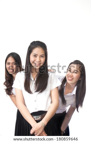 group of friend in university uniform posing isolated on white