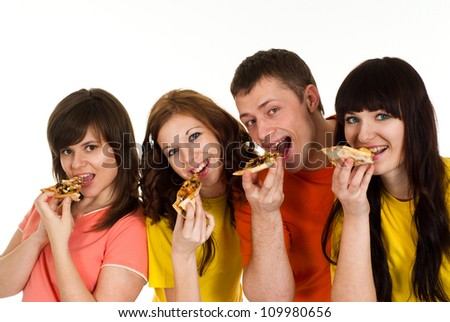 Group of friendly young people had a great time with each other - stock photo