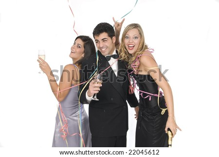 group of friends at a new years party with champagne - stock photo