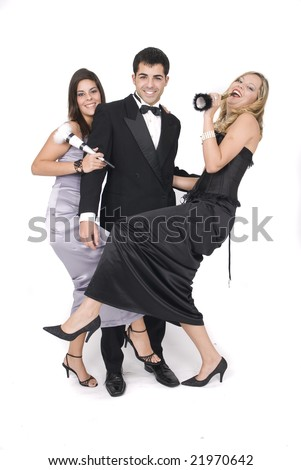group of friends at a party or at new year party isolated in white - stock photo