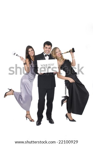 group of friends at a party or at new year party with sign for your text - stock photo