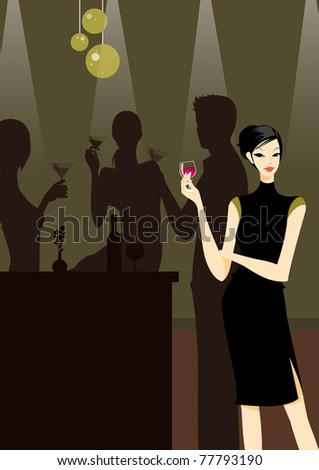 group of friends at a party with a beautiful girl in black dress in front picture with a cocktail or wine - stock photo