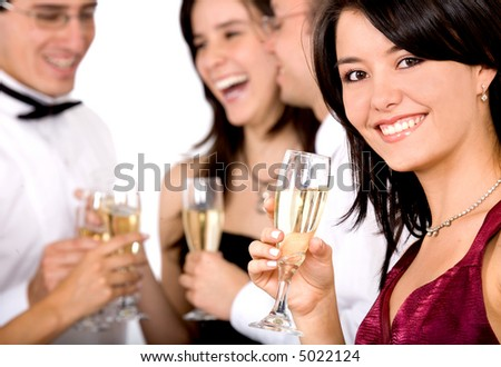 group of friends at a party with a beautiful girl in front - stock photo
