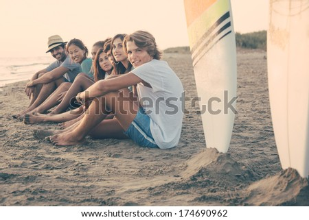 Group of Friends at Seaside - stock photo