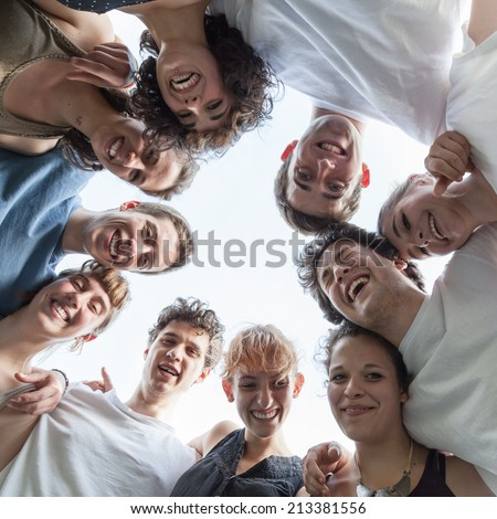 Group of friends at the park - stock photo