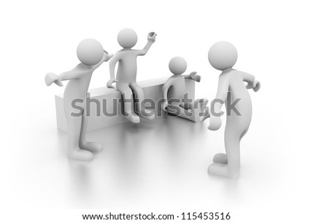 Group of friends. 3d rendered illustration. - stock photo