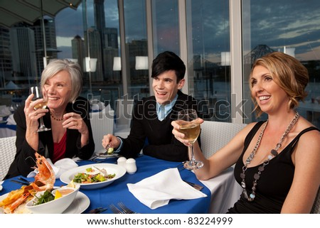 Group of friends having a good time - stock photo