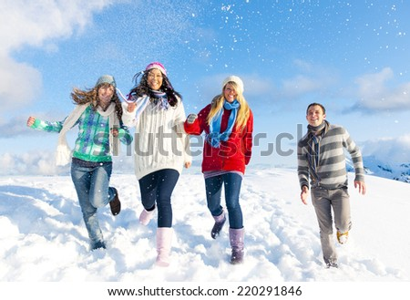 Group of friends having fun in the snow.