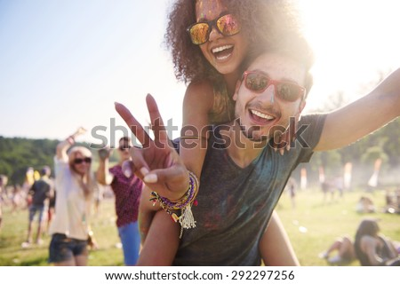 Group of friends having fun together - stock photo