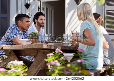 group of friends having outdoor garden dinner party - stock photo