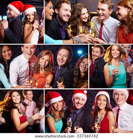 Group of friends having party in the bar - stock photo