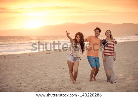 Group of Friends in their 20s Venice Beach at Sunset in Summer - stock photo