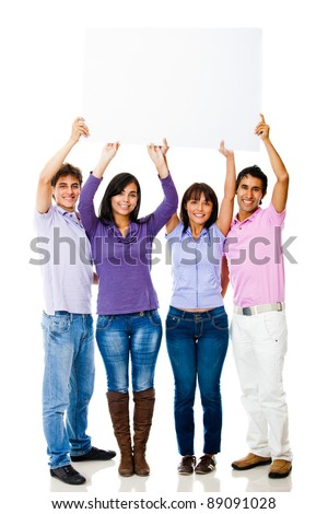 Group of friends lifting a banner  - isolated over a white background