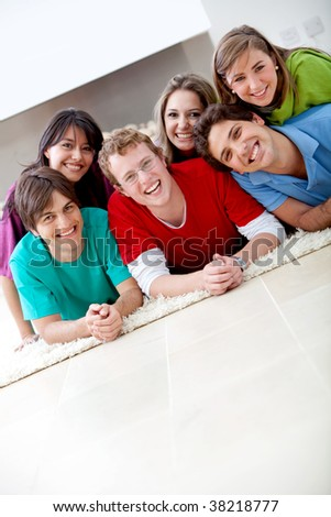 Group of friends looking happy and smiling