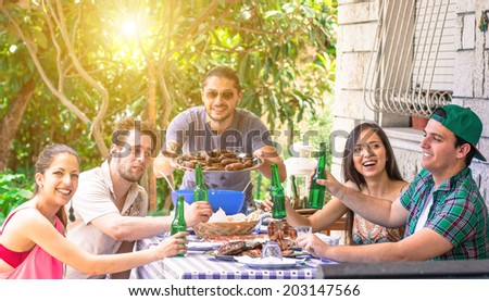 group of friends on a barbecue - stock photo