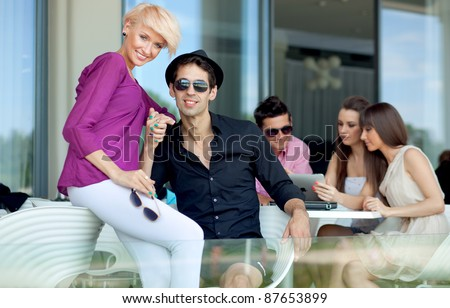 Group of friends on summer day - stock photo